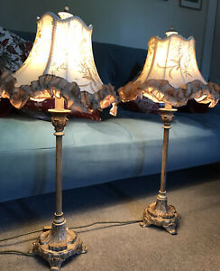 Pair Boudoir Embroidered Ribbon Lampshades Regency Style Gilt Bases Ivory Gold