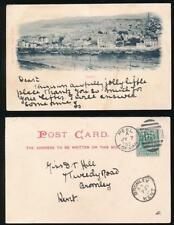 ISLE of MAN 1902 EARLY UNDIVIDED BACK PPC PEEL + VF DUPLEX POSTMARK