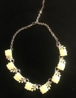 """Vintage Thermoset Yellow Lucite Enamel Leaves Goldtone Choker Necklace 17"""""""