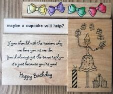 Lot of 4 Happy Birthday Theme Rubber Stamps Great Impressions Hero Arts