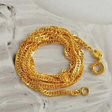 Classic 9K Yellow Solid Gold Plated Womens Water Wave Chain Necklace 450*2 mm