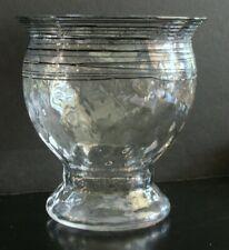 Steuben Threaded Glass Vase Crystal w/Black Threads Optic Effect