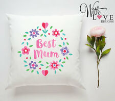 BEST MUM FLORAL PERSONALISED CUSTOM PILLOW CUSHION PRESENT GIFT MOTHERS DAY