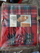 Vintage Woolrich Pearce Algonac Robe Wool Stadium Throw Blanket Red plaid NOS