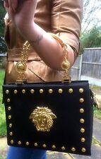 Gianni Versace jamais utilisé 80 S Vintage Rare Grand Medusa sac cuir lady gaga