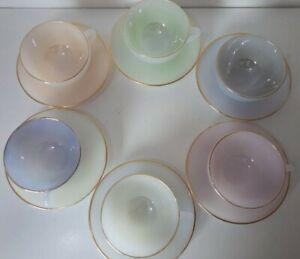 Vintage 1960s Vintage Arcopal France Opalescent Harlequin Tea Cups & Saucers x 6