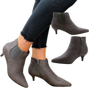 Ladies Ankle Chelsea Boots Womens Mid Kitten Heels Office Work Court Shoes Size