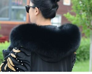 Real Fox Fur Black Collar For A Hood Down Coat and Parka's Cap Dedicated Arched