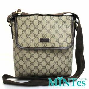 Auth Gucci GG Plus Shoulder Bag 223666 Beige PVC Diagonal [Used]