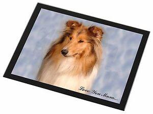 Rough Collie Dog 'Love You Mum' Black Rim Glass Placemat Animal Tab, AD-RC1lymGP