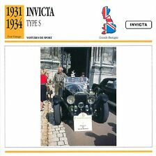 Invicta Type S  6 Cyl. Sport 1931-1934 GB/UK CAR VOITURE CARTE CARD FICHE