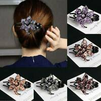 Chic Women's Crystal Hair Clips Slide Flower Hairpin Comb Hair Grips Accessories