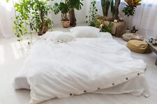 Linen Duvet Cover Closure buttons/100 Flax/White, Brown, Gray, Blue