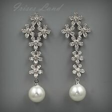 White Gold Plated Cubic Zirconia Pearl Wedding Bridal Drop Dangle earrings 08546