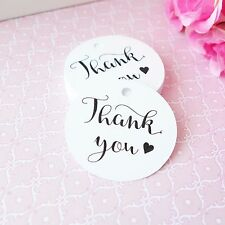24x THANK YOU Swing White Gift Tags Wedding Favour Baby Shower Bomboniere