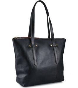 Fossil Felicity Black Leather Tote SHB1981001 Shoulder Bag Brass NWT $198 Ret FS