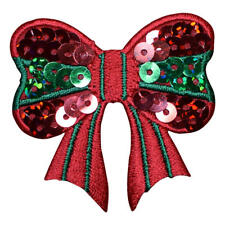 Red and Green Christmas Sequin Bow Applique Patch (Iron on)
