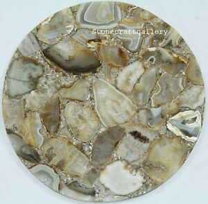 "18"" Natural Agate Corner side tabletop semi precious stones Work Handmade"