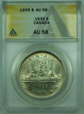1935 Canada Dollar $1 Silver Coin ANACS AU-58