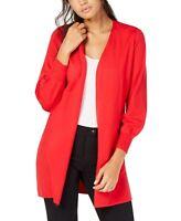 Alfani Women's Sweater Red Size Medium M Ribbed Open Front Cardigan $79 #358