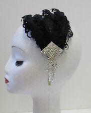 Black & Silver Diamante Feather Fascinator Headband Vintage 1920s Flapper X-22