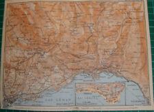 Vevey Vaud Montreux Carens Lake Geneva Villeneuve Antique map karte 1909 carte