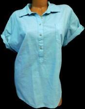 Riders blue women's plus size short sleeve fold tab  top XXL