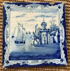 ANTIQUE 18C LIVERPOOL DELFT TILE BLUE AND WHITE DEPICTING A CASTLE AND SHIPS