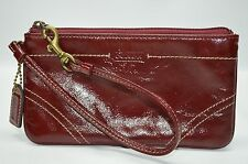 Coach Burgundy Patent Leather Contrast Stitching Medium Zip Wristlet Wallet Coin