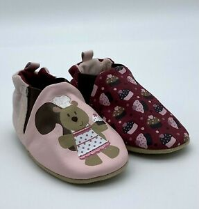 Robeez Soft Soles Reversible Pastry Squirrel Pink - Baby Girls Shoes 6-12 Months