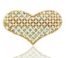 Bridal Luxury Pearls Cluster & Rhinestones Heart Hair Barrettes Accessories HA70