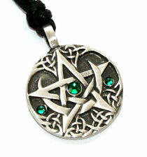 EMERALD GREEN May Birthstone PENTAGRAM Pewter Pagan PENDANT w/ Swarovski Crystal