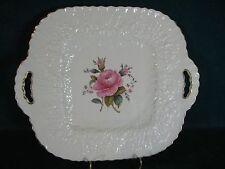 Spode Bridal Rose / Savoy Billingsley Rose Handled Cake Cookie Plate Gold Trim