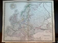 1855 EUROPE LARGE HAND COLOURED MAP FROM JOHNSTON'S NATIONAL ATLAS