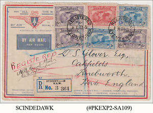 AUSTRALIA - 1931 REGISTERED AIR MAIL ENVELOPE TO ENGLAND WITH STAMPS