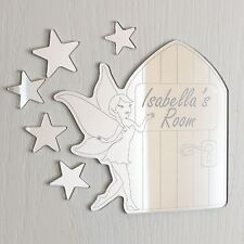 Fairy & Fairy Door Mirror Personalised Door Name Plaque Boy Girls Bed Room Sign