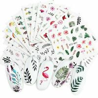 Nail Art Water Decals Stickers Transfers Summer Tropical leaf Flamingo Floral