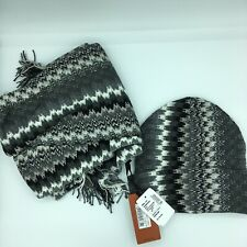 NWT MISSONI SCARF AND HAT SET $320 BlackGray Multicolor Silver Shimmer