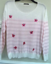 'GEORGE'LOVELY NEW, PINK/WHITE, POLY/VISCOSE/NYLON,LONG SLEEVE SWEATER-SIZE 16