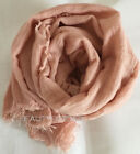 Crimp Frayed Edges Crinkle Maxi Scarf Cotton Mix Hijab Scarves Shawl Drape New