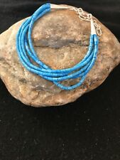 """BLUE Denim Lapis Heishi Sterling Silver Bracelet Gift 7"""" 5 St 8605"""