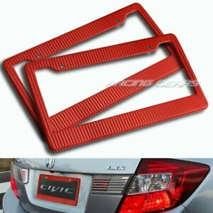 2 X Red Carbon Style License Plate Holder Cover Frame Front Or Rear Universal 2