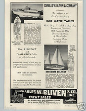 1963 PAPER AD Charles W Bliven Blue Water Yacht Sales Regency Vegabondia