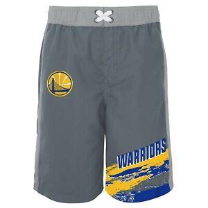 Outerstuff Golden State Warriors NBA Youth (8-20) Heat-Wave Swim Shorts, Grey
