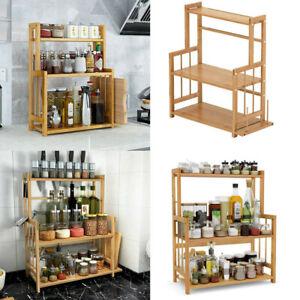 3 Tier Kitchen Countertop Storage Organizer Standing Spice Rack W/ Knife Holder