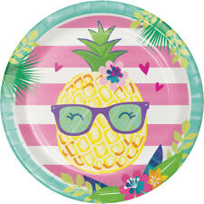 8 x Pinapple & Friends Paper Party Plate Tropical Hawaiian Luau Party Tableware