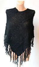 NUEVO Super Elegante Mujer Grueso de punto Poncho Chaquetón con flecos en Negro