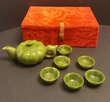 Chinese Green Jade Dragon Teapot Carved Pot Hand Teacups Green