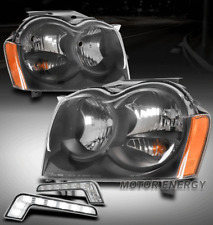 For 05-07 Jeep Grand Cherokee Black Headlights Lamp w/LED DRL Signal Left+Right