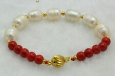 New 10-11mm White Cultured Pearl&8mm Red Coral Bracelet Bangle 7.5'' AAA